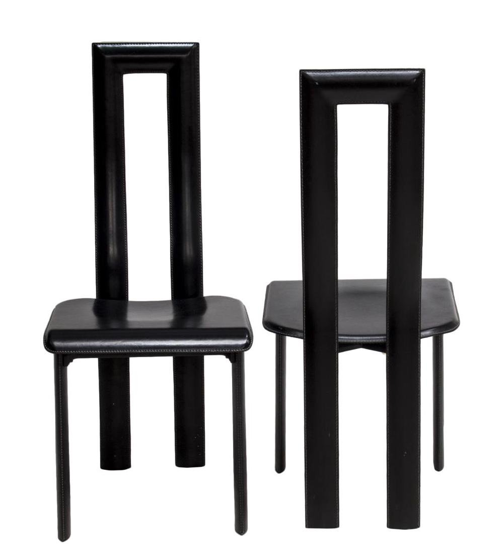 (PAIR) ITALIAN MODERN BLACK LEATHER YCAMI CHAIRS - 2