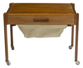DANISH MID-CENTURY MODERN TEAKWOOD SEWING TABLE