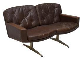 DANISH MID-CENTURY MODERN LEATHER 2-SEAT SOFA