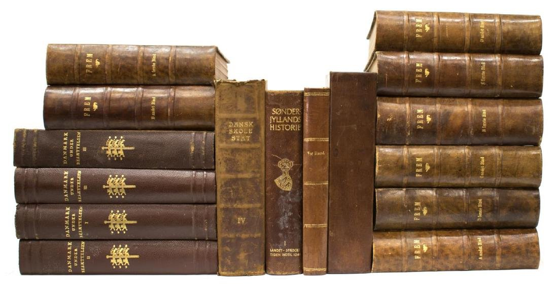 (16) DANISH BROWN LEATHER BOUND LIBRARY BOOKS