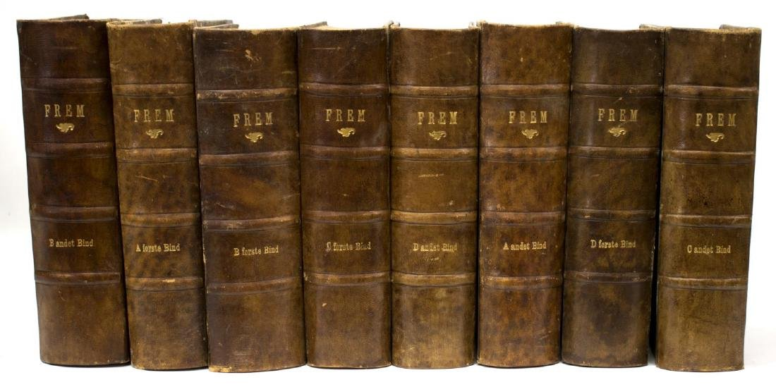 (16) DANISH BROWN LEATHER BOUND LIBRARY BOOKS - 3