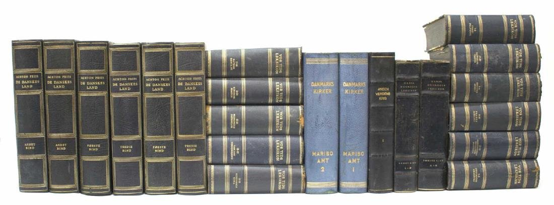 (22) DANISH BLUE LEATHER BOUND LIBRARY BOOKS