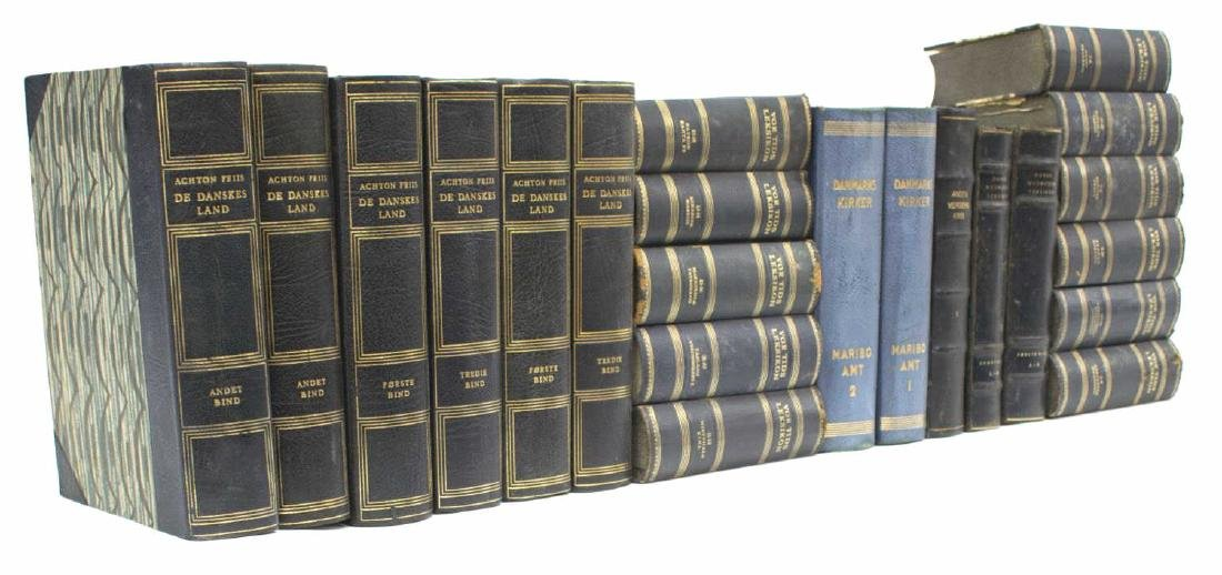 (22) DANISH BLUE LEATHER BOUND LIBRARY BOOKS - 2