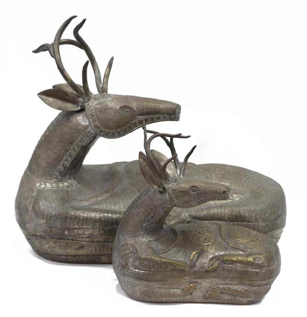 (2) FIGURAL SILVERED METAL BETEL NUT DEER BOXES