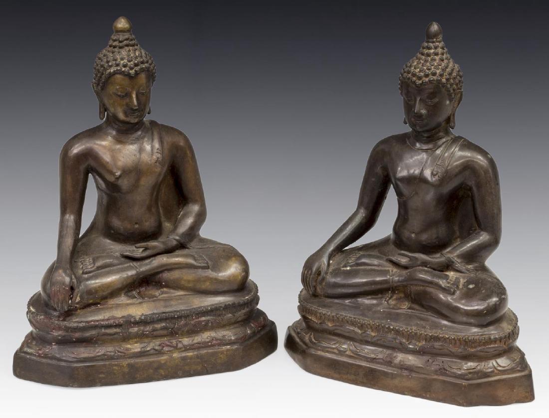 (2) THAI BRONZE SEATED BUDDHAS