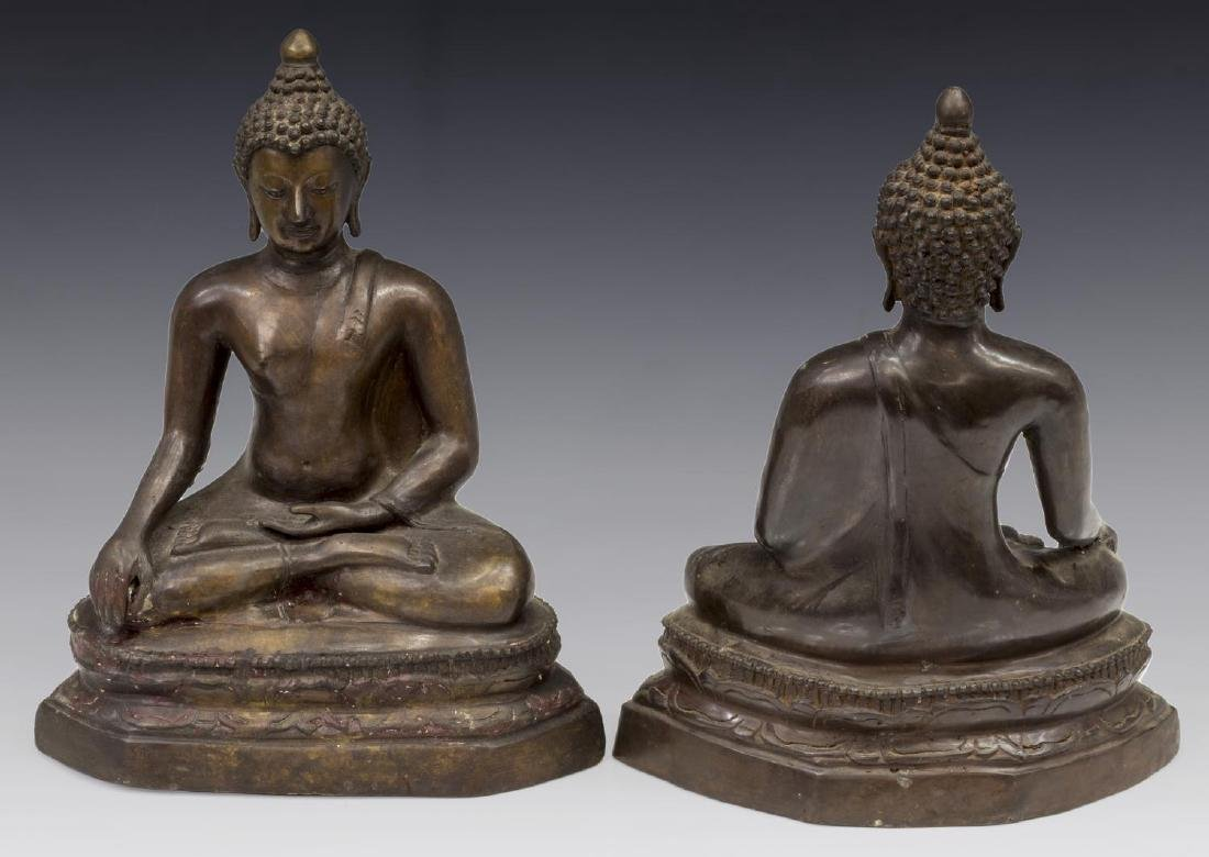 (2) THAI BRONZE SEATED BUDDHAS - 2