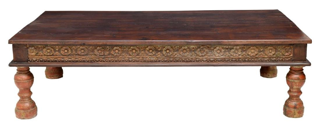 DUTCH COLONIAL STYLE CARVED TEAKWOOD COFFEE TABLE - 2