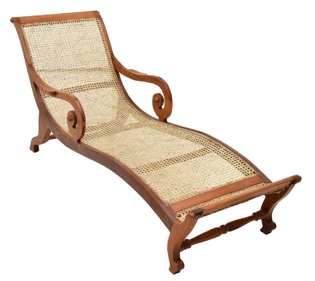 COLONIAL STYLE TEAK & CANED LOUNGE CHAIR