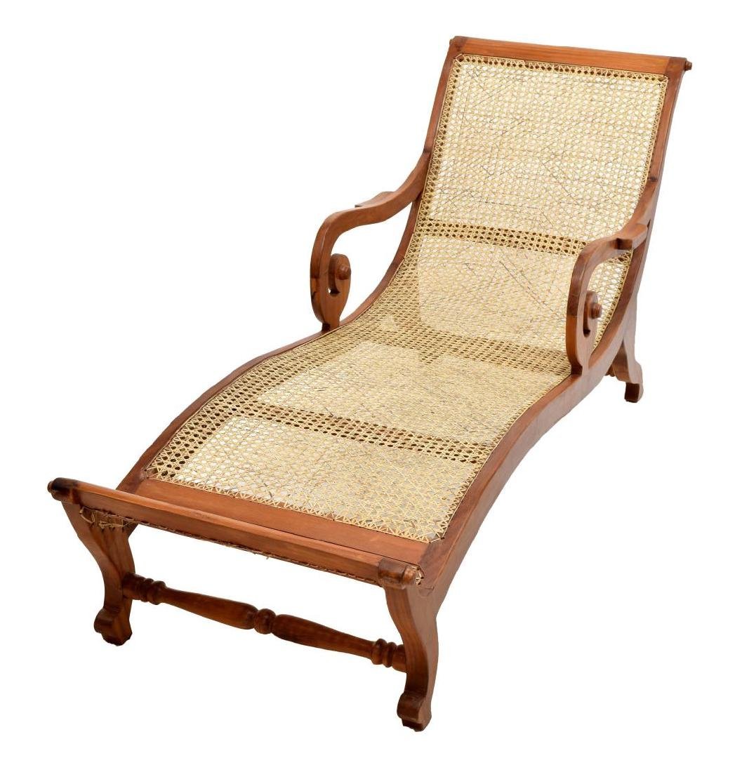 COLONIAL STYLE TEAK & CANED LOUNGE CHAIR - 2