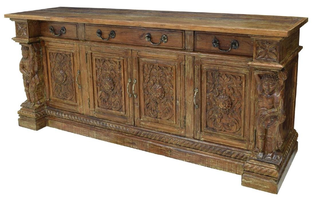 BRITISH COLONIAL STYLE CARVED TEAK SIDEBOARD