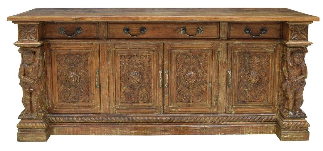 BRITISH COLONIAL STYLE CARVED TEAK SIDEBOARD - 2