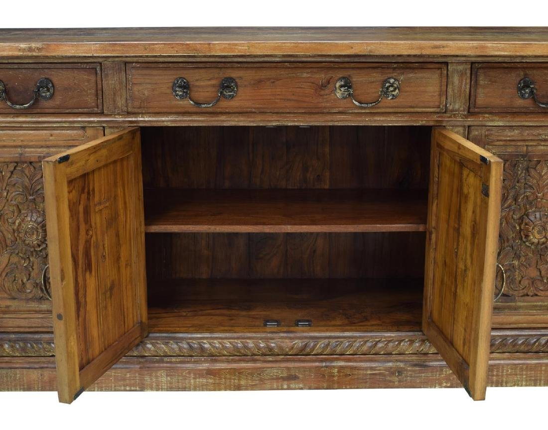 BRITISH COLONIAL STYLE CARVED TEAK SIDEBOARD - 3