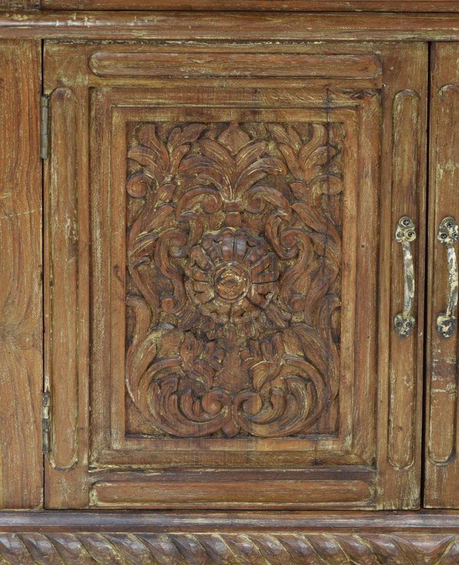 BRITISH COLONIAL STYLE CARVED TEAK SIDEBOARD - 5