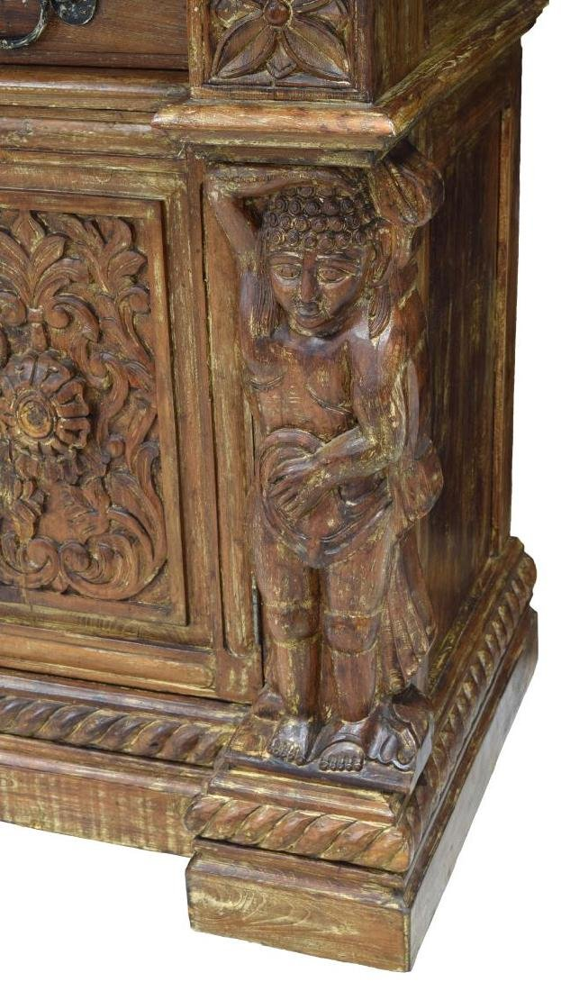 BRITISH COLONIAL STYLE CARVED TEAK SIDEBOARD - 6