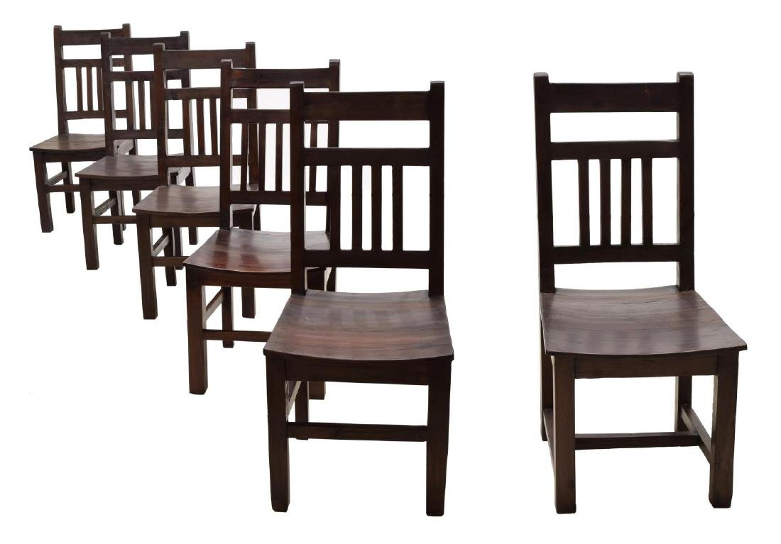 (6) COLONIAL STYLE TEAKWOOD SIDE CHAIRS