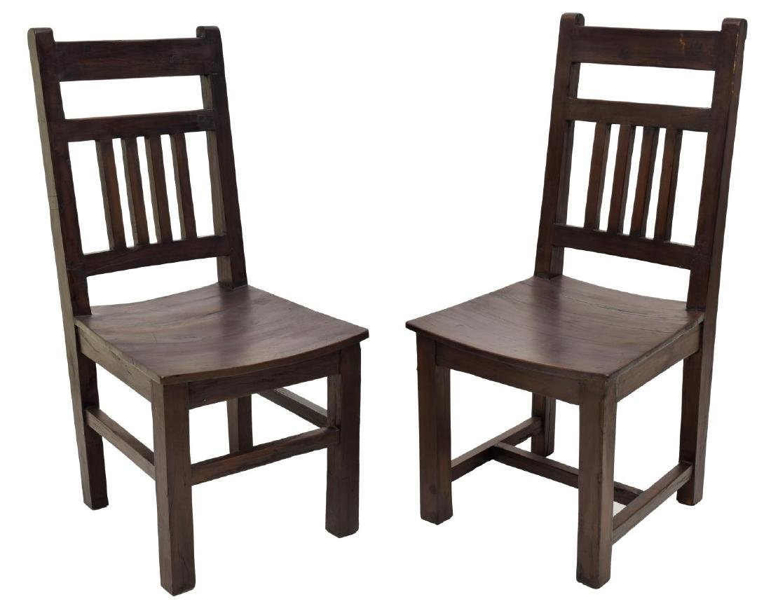 (6) COLONIAL STYLE TEAKWOOD SIDE CHAIRS - 2