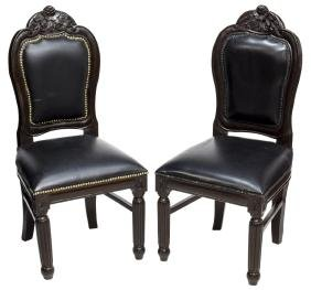 (2) BRITISH COLONIAL MAHOGANY & LEATHER CHAIRS