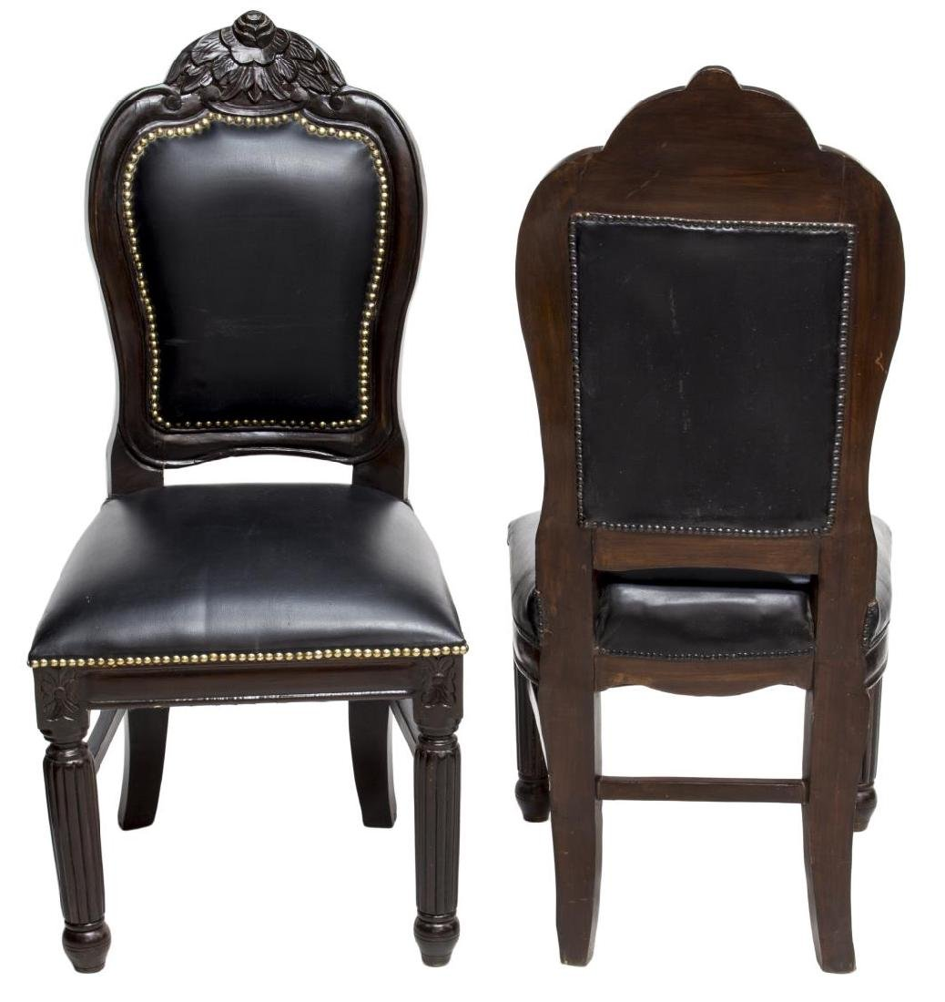 (2) BRITISH COLONIAL MAHOGANY & LEATHER CHAIRS - 2