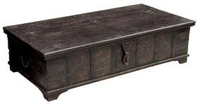 COLONIAL STYLE IRON STRAPPED TEAKWOOD DOWRY CHEST
