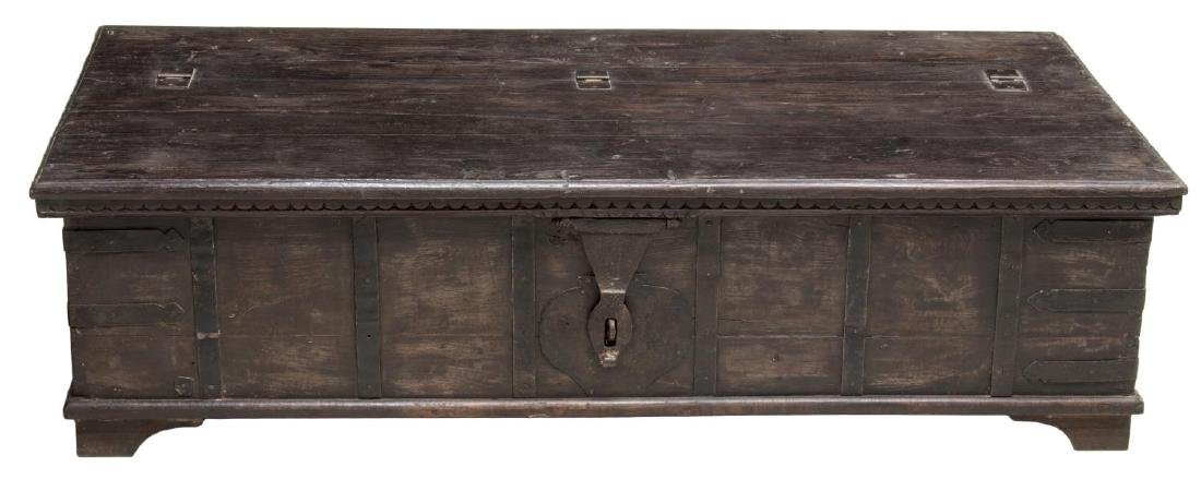COLONIAL STYLE IRON STRAPPED TEAKWOOD DOWRY CHEST - 2
