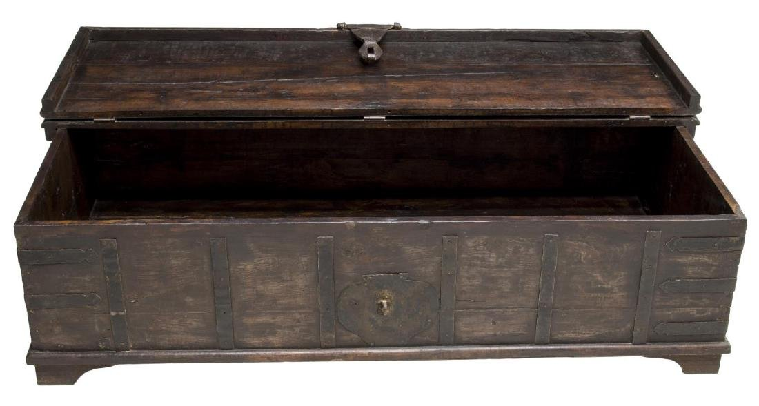 COLONIAL STYLE IRON STRAPPED TEAKWOOD DOWRY CHEST - 3