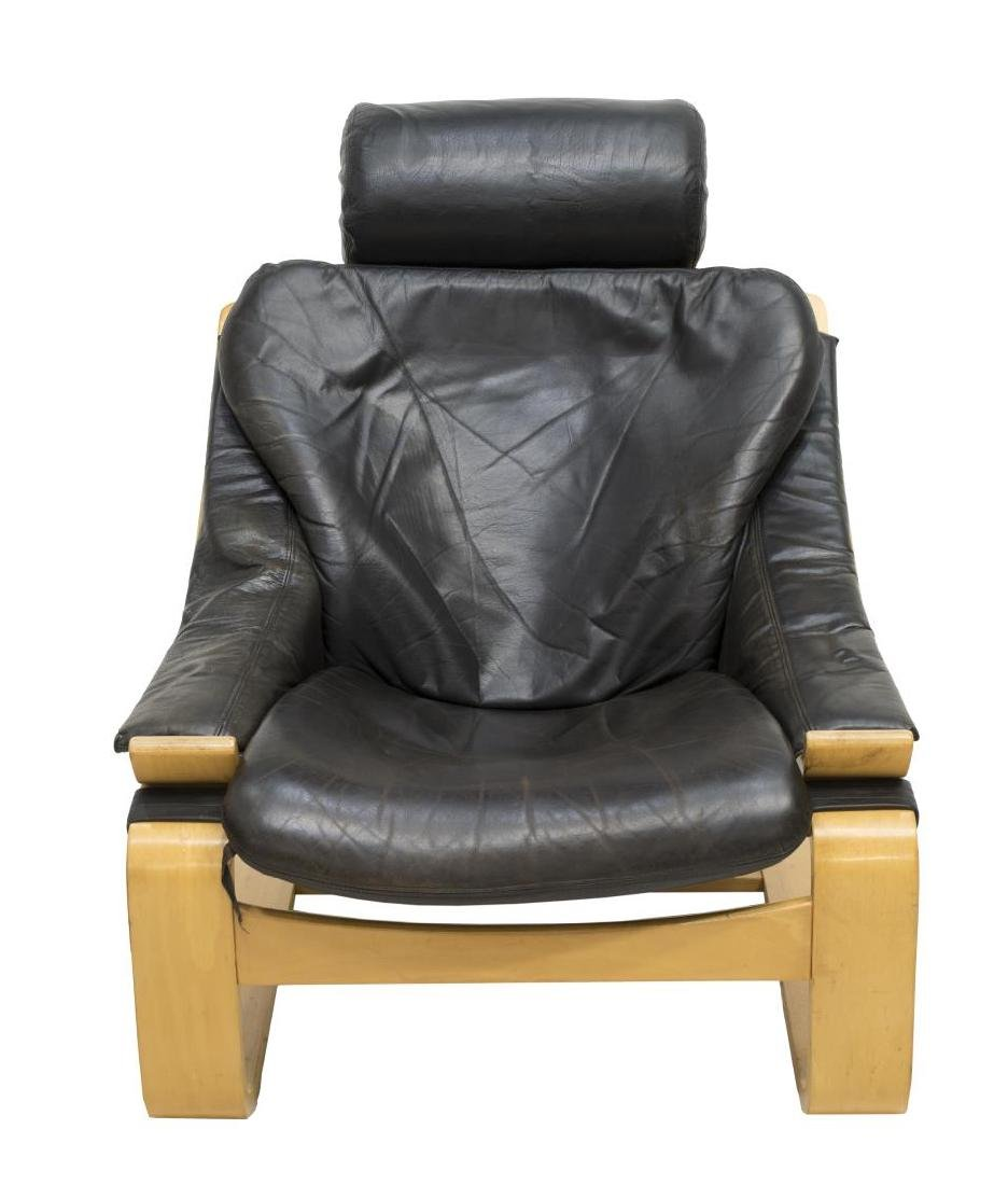 DANISH MODERN LEATHER & BEECHWOOD ARMCHAIR - 2