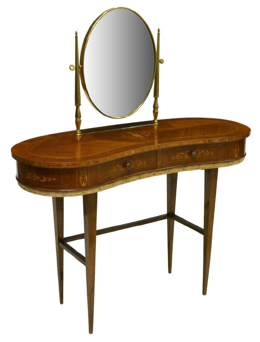 LOUIS XVI STYLE BRASS & MARQUETRY VANITY 20TH C