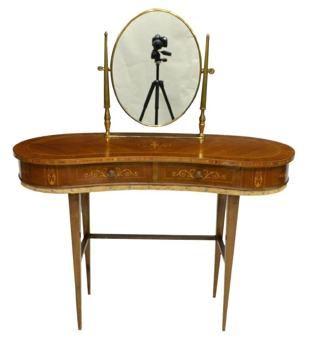 LOUIS XVI STYLE BRASS & MARQUETRY VANITY 20TH C - 2