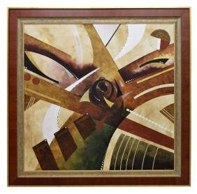LARGE FRAMED ABSTRACT OIL PAINTING, BROOKS
