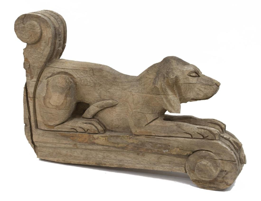 CARVED WOODEN DOG FORM WALL CORBEL