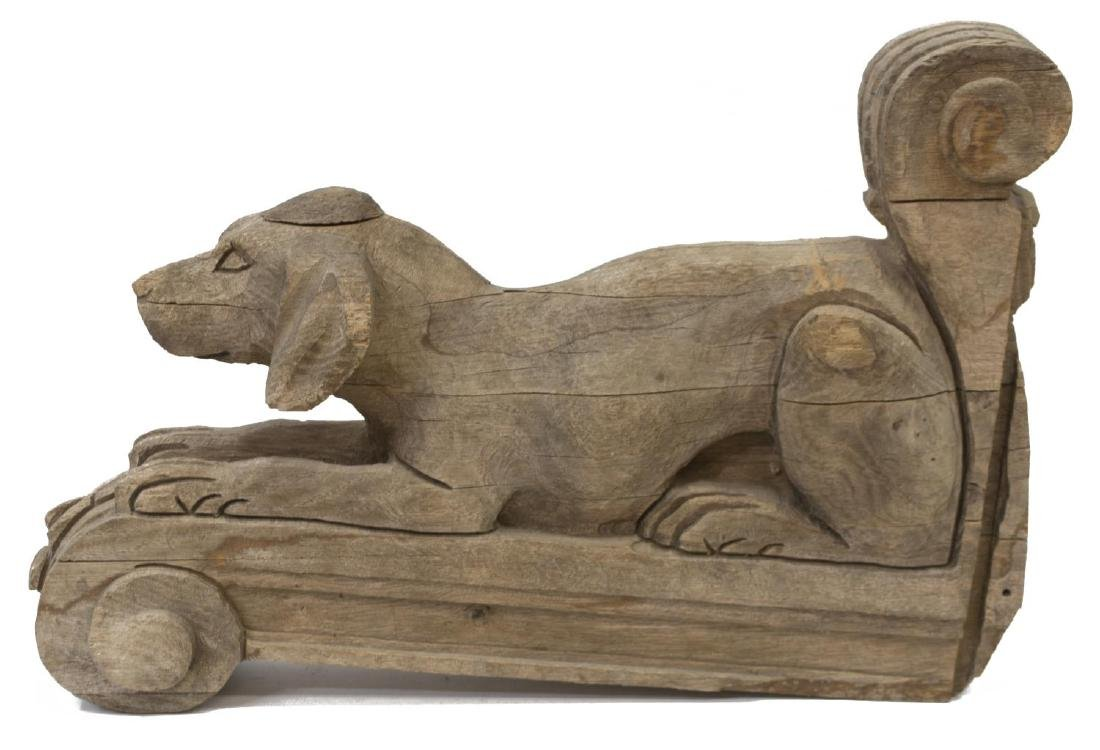 CARVED WOODEN DOG FORM WALL CORBEL - 3
