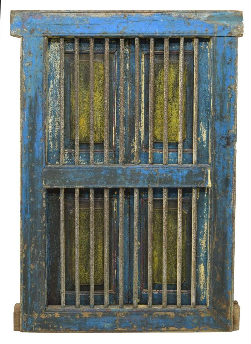 TEAKWOOD & IRON POLYCHROME WINDOW