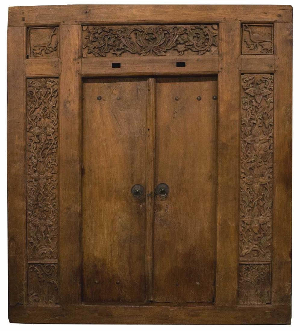ANTIQUE FOLIATE CARVED ARCHITECTURAL DOORS & FRAME