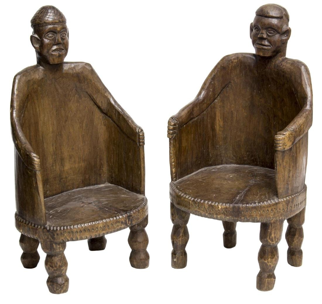 (2) NEPALESE CARVED TEAKWOOD FIGURAL ARMCHAIRS