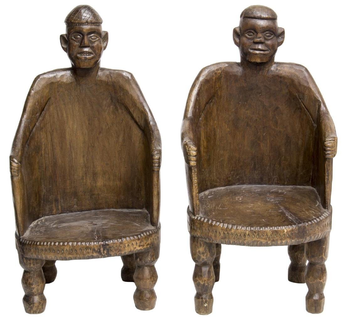 (2) NEPALESE CARVED TEAKWOOD FIGURAL ARMCHAIRS - 2