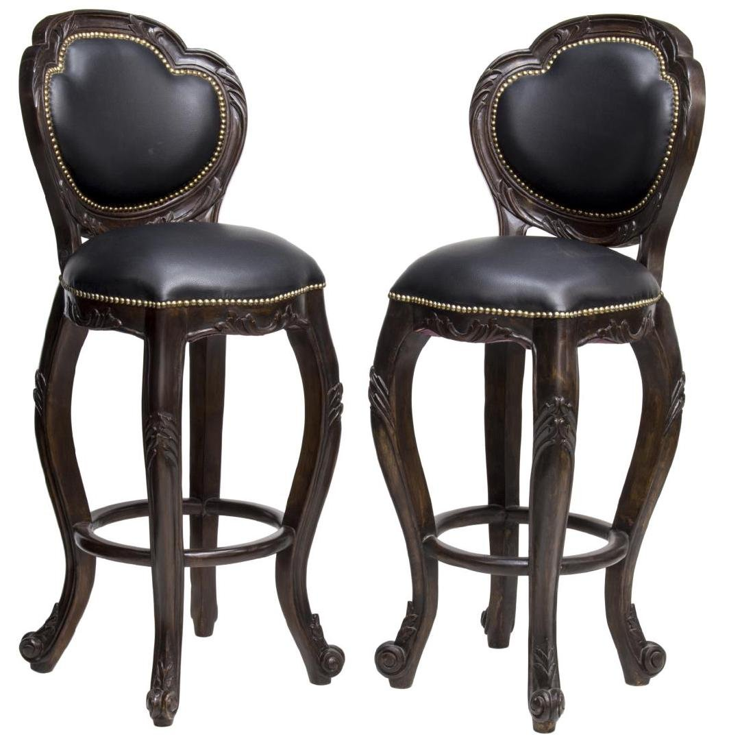 (2) LOUIS XV STYLE MAHOGANY & LEATHER BARSTOOLS