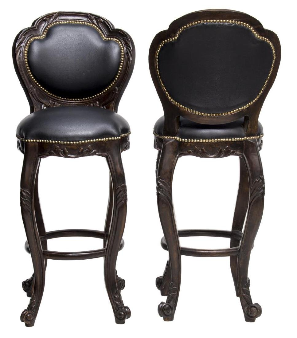(2) LOUIS XV STYLE MAHOGANY & LEATHER BARSTOOLS - 2