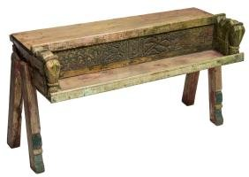 BRITISH COLONIAL POLYCHROME TEAK CONSOLE TABLE