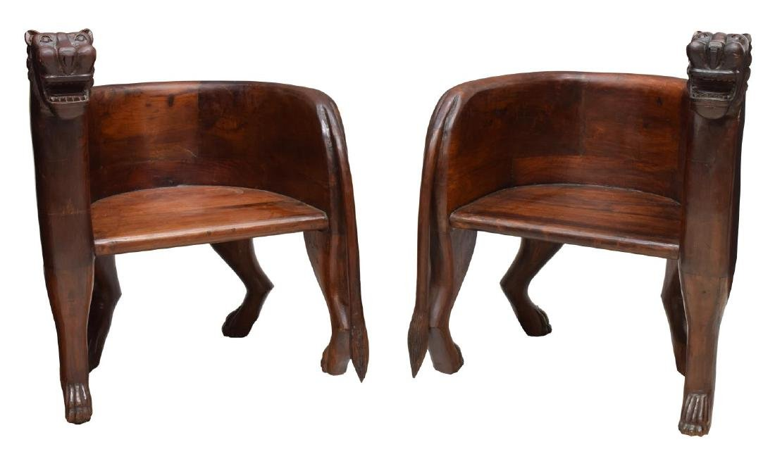 (2) FIGURAL CARVED FULL BODY TEAK LEOPARD CHAIRS