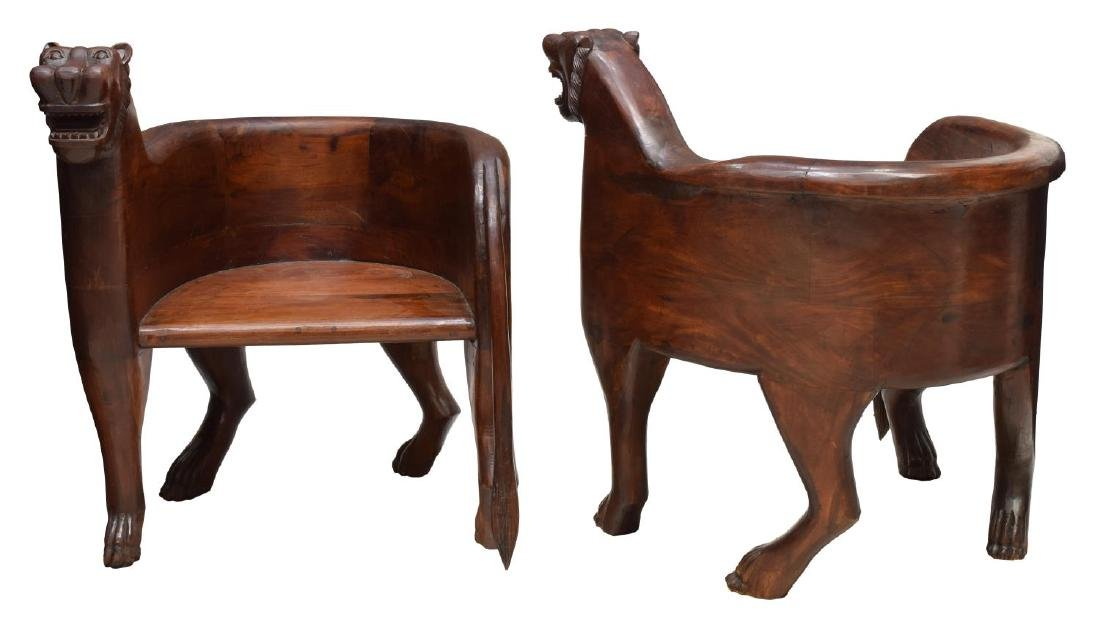(2) FIGURAL CARVED FULL BODY TEAK LEOPARD CHAIRS - 2