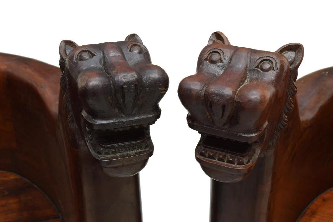 (2) FIGURAL CARVED FULL BODY TEAK LEOPARD CHAIRS - 3