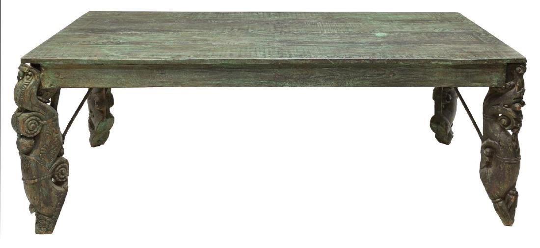 DUTCH COLONIAL STYLE PAINTED TEAK LIBRARY TABLE - 2