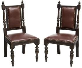 (2) BRITISH COLONIAL STYLE CARVED MAHOGANY CHAIRS