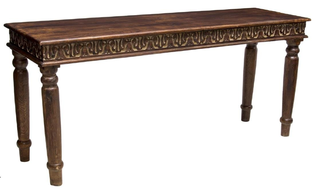 COLONIAL STYLE CARVED TEAKWOOD CONSOLE TABLE