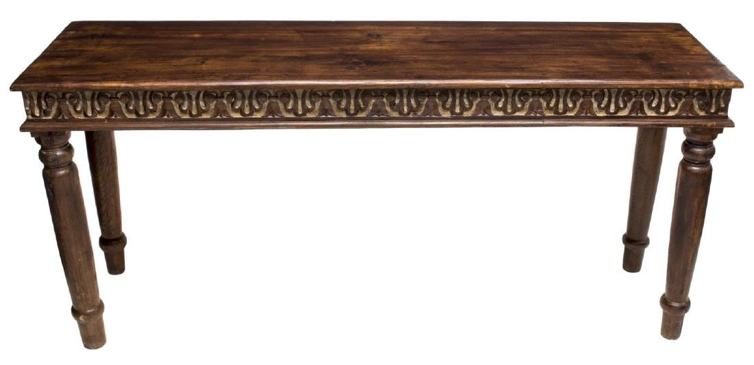 COLONIAL STYLE CARVED TEAKWOOD CONSOLE TABLE - 2