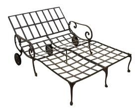 SALTERINI PATINATED METAL DOUBLE CHAISE LOUNGE