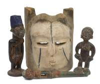 4 TRIBAL CARVED WOOD MASK  FIGURAL STATUES