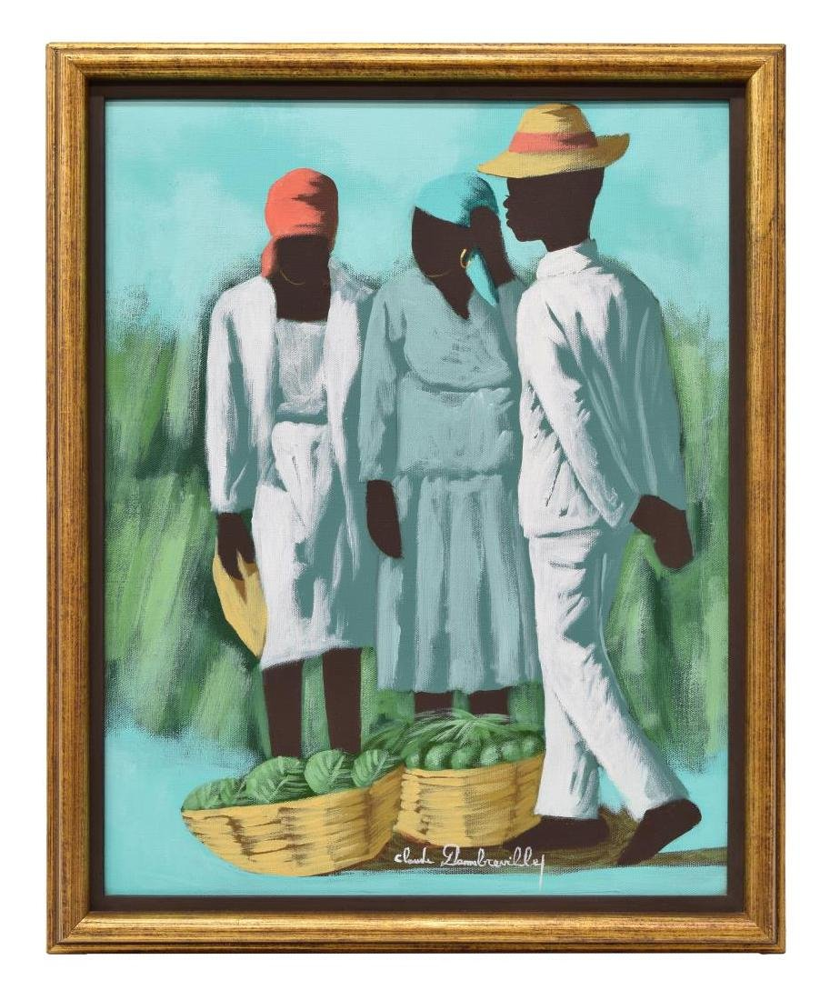 HAITIAN PAINTING THREE FIGURES, CLAUDE DAMBREVILLE