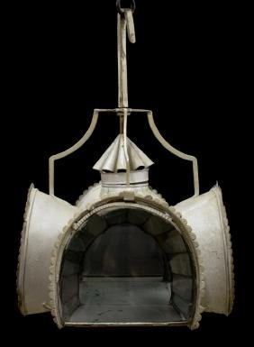ITALIAN MIRRORED & METAL CEILING LANTERN LAMP