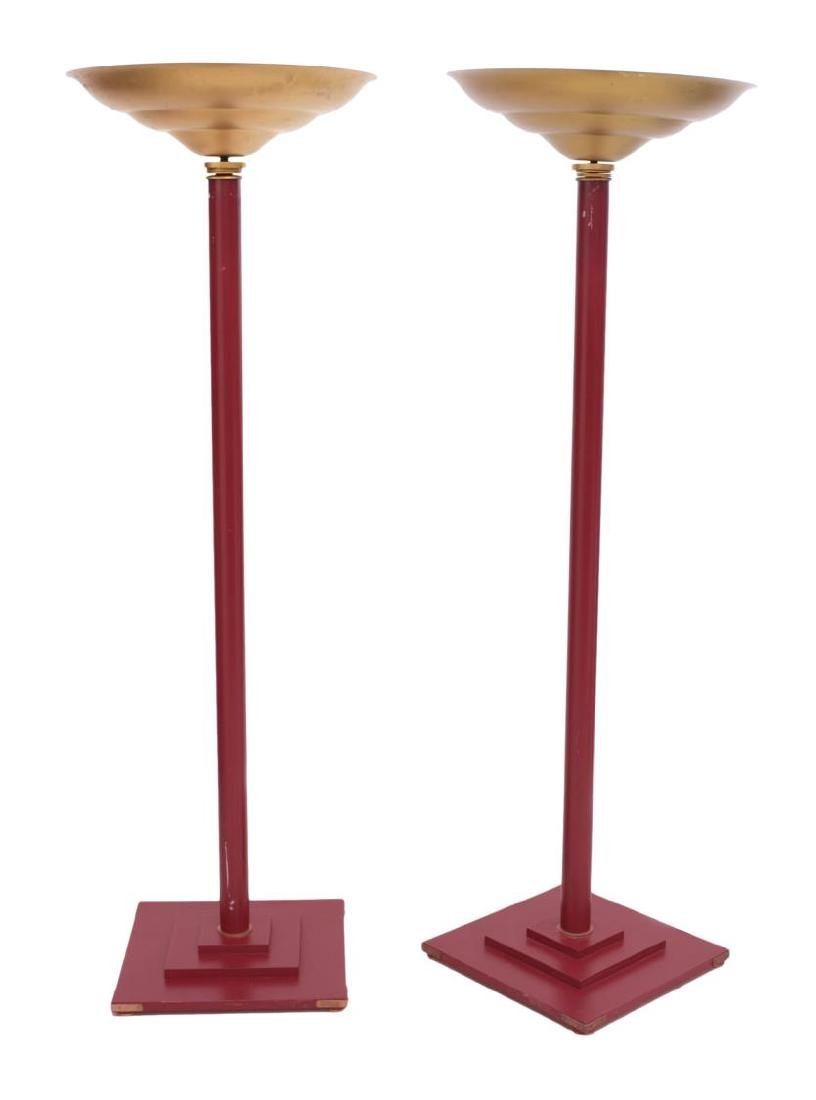 (PR)FRENCH MID-CENTURY PARCEL GILT RED FLOOR LAMPS - 2